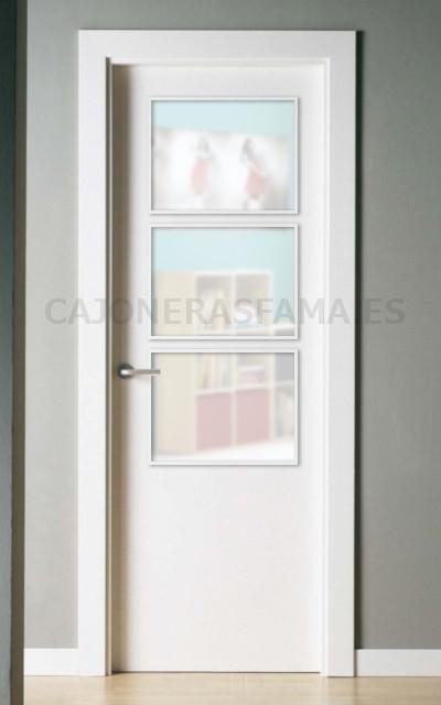 Puerta lacada en blanco serie lisa pc 50 for Cristales para puertas de interior
