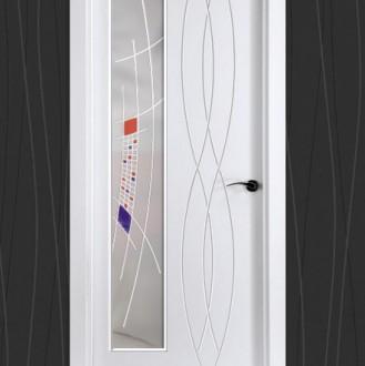 Puerta lacada en blanco Fantastic 03 Vidrio Fan03