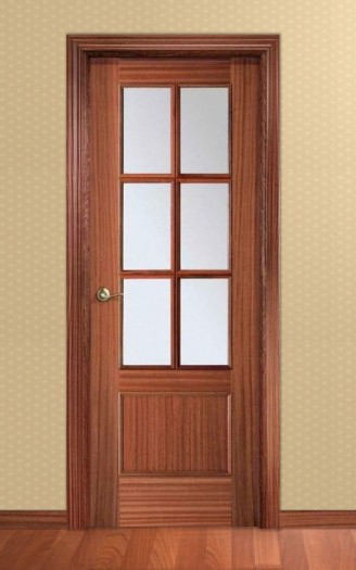 Puerta Barnizada en madera de Sapelly - Serie Recta 32 6v