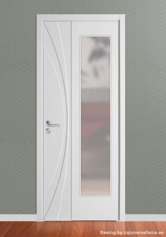 Puerta lacada en blanco Fantastic 07 - Vidriera
