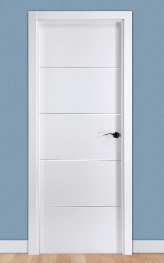 Puerta laminada en PVC Pantografic 02 en Blanco Seda