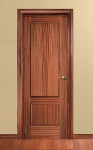 Puerta Barnizada en madera de Sapelly - Serie Recta 32