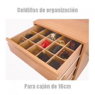 Celdillas de organización para cajones de 16cm