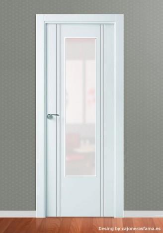 Puerta lacada en blanco Pantografic L-600 1 Vidrio