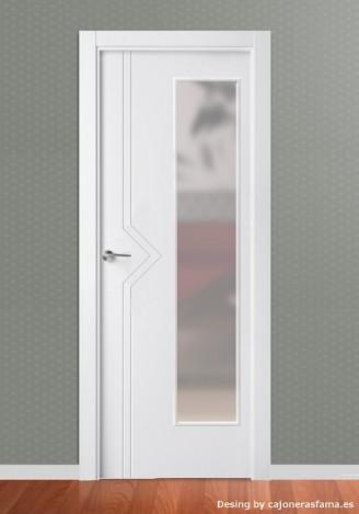 Puerta de interior lacada en blanco Pantografic L-2100 Vidriera