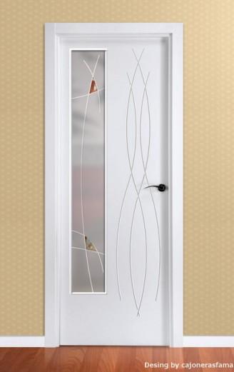 Puerta lacada en blanco Fantastic 02 Cristal Fusing