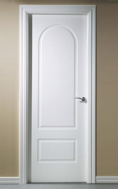 Puerta lacada en blanco serie medio punto for Puertas de paso blancas