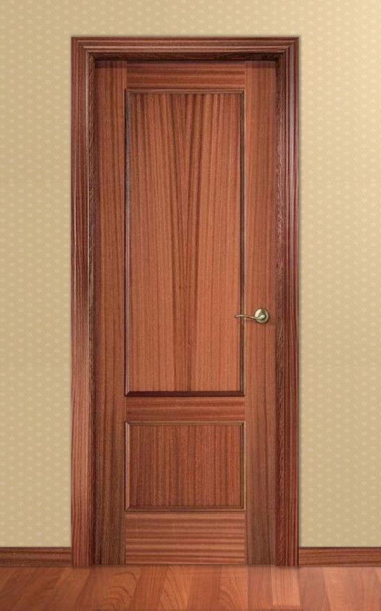 Puerta barnizada en madera serie recta 32 for Puertas sapelly