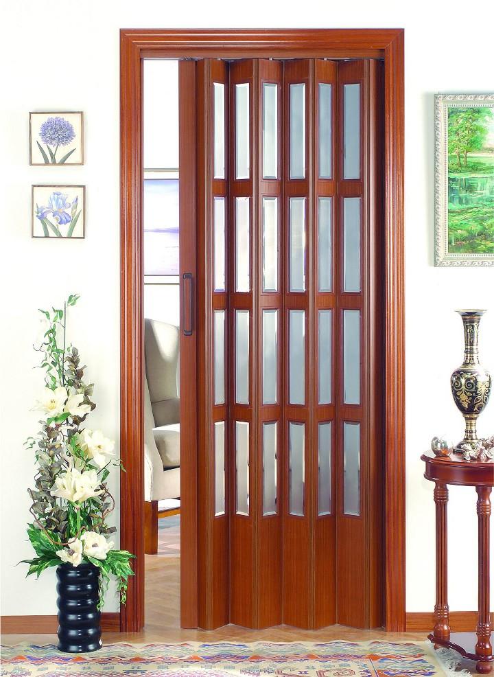 Puerta plegable vidriera serie vinilo modelo niza - Puertas de madera plegables ...